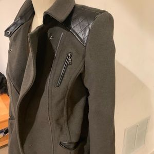 Olive green and leather motor jacket. Large